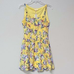 NWT Tulle Bustier Yellow Floral Mini Dress (S)